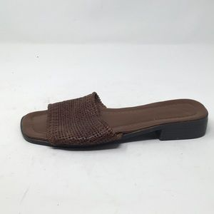 BROWN LEATHER WOVEN FLATS 9